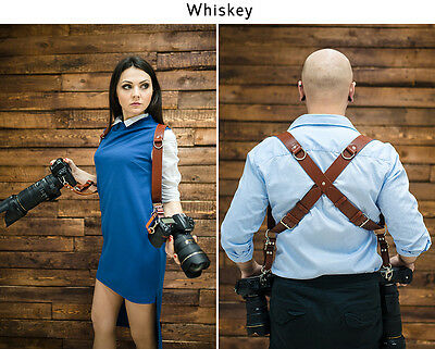 Leather Multi Camera Two Cameras Straps Adjustable Photo Harness  Double Camera