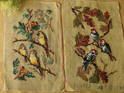 Vintage Hand Crafted Preworked Needlepoint Canvas Birds On Branch
