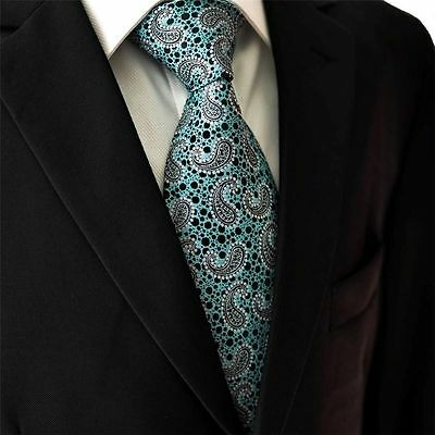 Turquoise Blue Green Silver Paisley 100% SILK TIE Jacquard Woven New Hologram