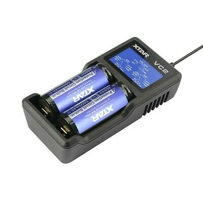 XTAR VC2 USB Li-Ion LCD 18350 CR123A 18650 Lithium Vape Battery Charger