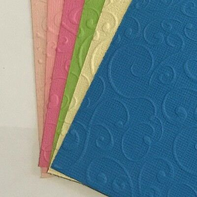 Scrapbooking, Card Making, Hand Embossed Paper, X 6, Swirl Design,