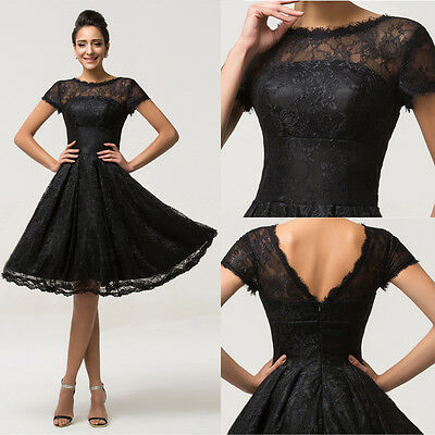 WOMEN BLACK Short Evening Ball Gown Party Masquerade Formal Prom Cocktail Dress