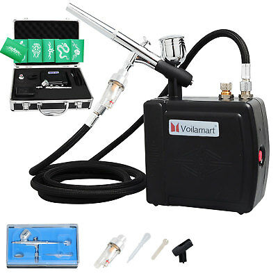 Air Brush Compressor 0.3mm Dual Action Spray Gun Cake Decorating Airbrush Kit