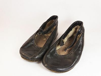 Antique Victorian child baby doll leather button shoes black