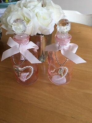 Cute Set Of Two Perfume Dressing Table Glass Bottles Shabby Chic
