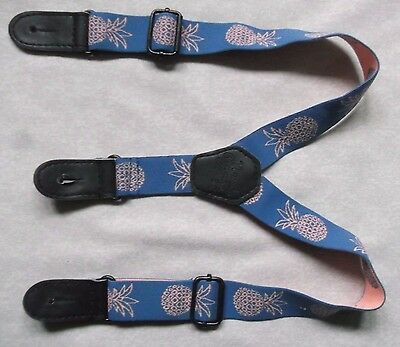 Boys Baby Classic Button Braces Vintage Retro Style Blue Pineapple Age 1-2