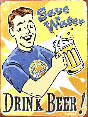 Save Water Drink Beer Retro metal Aluminium Sign vintage bar pub man cave signs