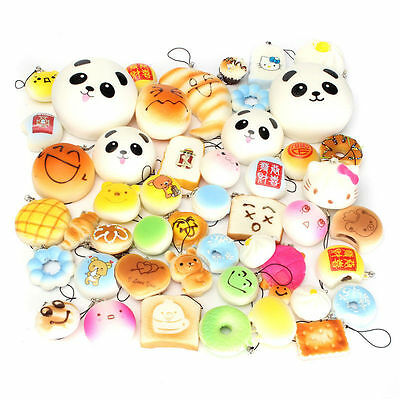 12PCS Jumbo Mini Squishy Bread Scented Panda Toast Donuts Cone Humbarger Turtle