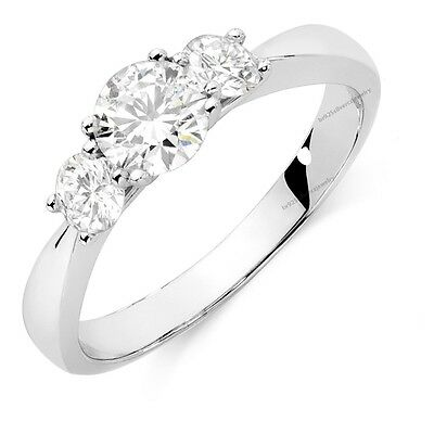 10K White Gold Over Round Cut Three Stone Diamond Engagement Wedding Ring Sz 5