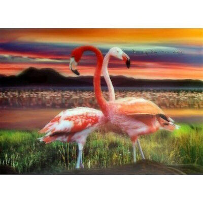 Large 3D effect, Flamingos in the Sunset Picture 15.7x11.8 inch. Warm Colours