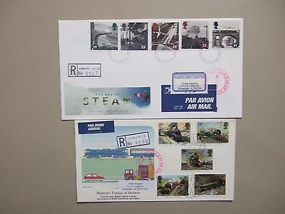 Two historic Trains of Britain registered fdc.High value stamps 2.85 pound