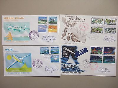 Four Pacific Is thematic fdc:Marshall Is,Palau