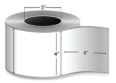 """4"""" X 6"""" Thermal Transfer Label Shipping 3"""" Core - 4 Rolls, 1000 Labels/Roll"""