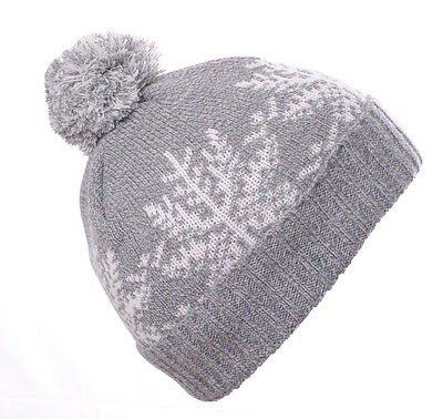 Wholesale Clearance Grey/White Pom Pom RIbbed Beanie Turn Up Hat