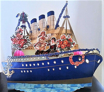 """OCEAN LINER BOAT VALENTINE CARD 3D Stand-up Display Large 11""""x 9"""" Shackman"""