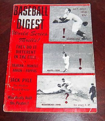 Baseball Digest October / November 1958 Willie Mays World Series