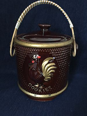 Decorative Rooster Cookie Jar With Lid And Handle Ceramic Japan