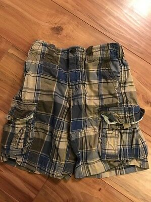 Boys Gap Kids Blue /khaki Plaid Cargo Shorts-size 7