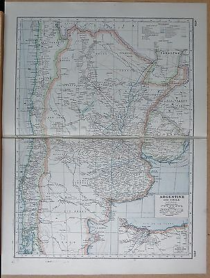 1920 Map -Post Ww1- Argentine And Chile, Railways, Inset Buenos Aires