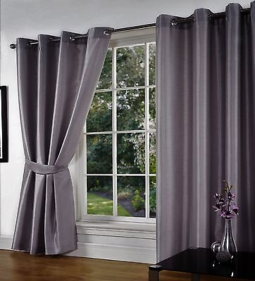 Grey Plain Faux Silk Fully Lined Eyelet Ready Curtains Ring Top + Tie Backs