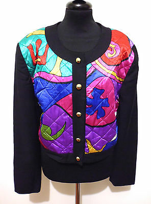 BETTY BARCLAY VINTAGE '80 Giacca Donna Lana Optical Woman Wool Jacket Sz.L - 46