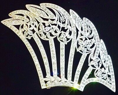 MAGNIFICENT ART DECO RETICULATED RHINESTONE HAIR COMB TOP 1920's
