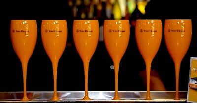 Veuve Clicquot Yellow Champagne Poolside Poly Carbonate  Flutes New Unboxed X 12