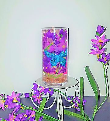 Reusable Gel Wax Candle with Three Butterflies & Lilacs in 2 Different Colors