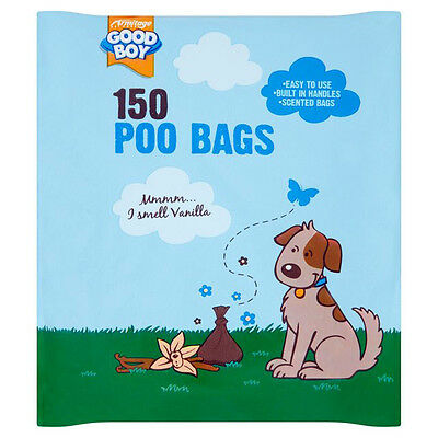 Armitage Good Boy Dog Poo Poop Waste Bags 150pk Vanilla Scented with Tie Handles