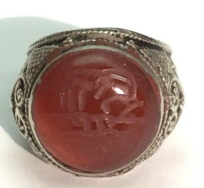 Vintage Oxidized OLD Middle Eastern Sterling Silver 925 Chunky Statement Ring