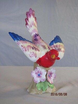 Vintage Bird Figurine W/flower Detail -Colorful -Glazed Porcelain-Japan Marking