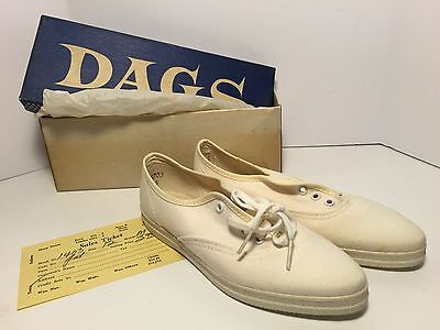 New Deadstock DAGS Children's Size 12.5 M White Canvas Tennis Shoes Pointy Toes