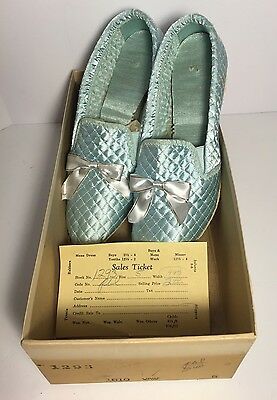 New 1920-1930's Dress Bedroom Slippers Shoes Quilted Fabric Bow Size 5 Orig Box