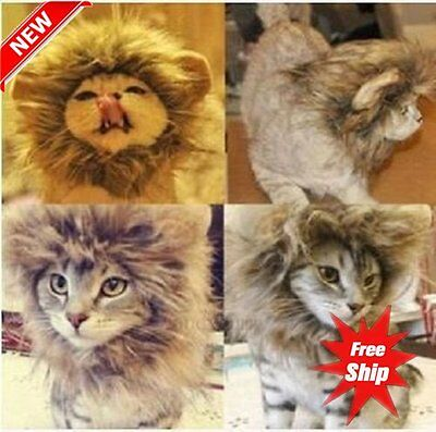 Pet Hat Lion Mane Wig For Cat Halloween Fancy Dress Up With Ears Festival DG