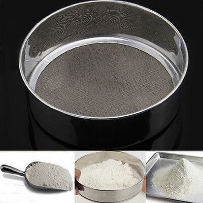 Stainless Steel Mesh Flour Sifting Sifter Sieve Strainer Cake Baking Kitchen DG