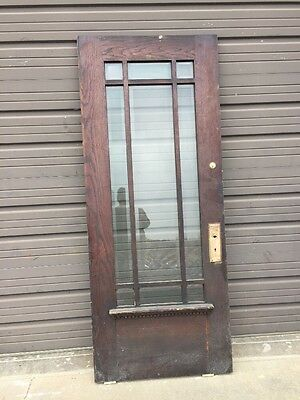 An 156 Antique Beveled Glass Oak townhouse Entrance Door 33 7/8 X83 5/8""