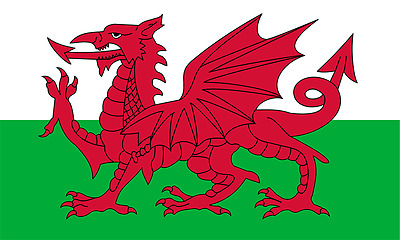 1 x  Welsh Flag - Welsh National Flag Hand Waving Flag with Pole - Free UK P&P