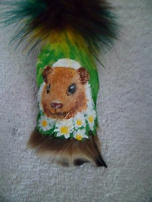 Guinea Pig- Hand Painted Feather By Artist W. W. Hoffert