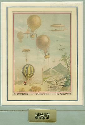 """Antique Etching of Balloons Circa 1880. """"L' Aérostation"""" Mounted 35 x 30cm"""
