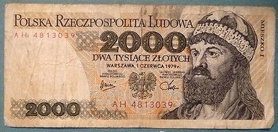 POLAND 2000 2 000  ZLOTYCH NOTE , P 147 ,b, ISSUED 01.06. 1979,