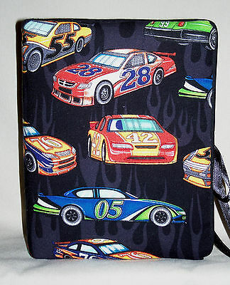 """Race Cars with Numbers Handcrafted Handmade Photo Album Holds 80 4""""X6 NEW Black"""