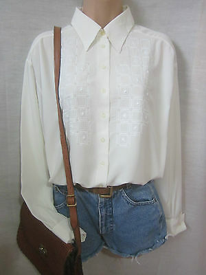 Vintage 90's Cream Embroidered Oversized Peak Collar Blouse Shirt 14 16 18