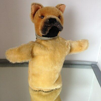 Vintage STEIFF Mohair BULL DOG Hand Puppet ~ As-is No Button
