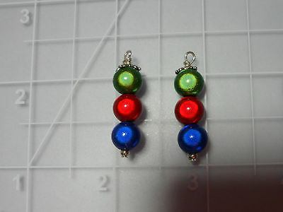 Illusion Beads Red Blue Green Dangle Earrings Pierced 925 Silver Wires Christmas