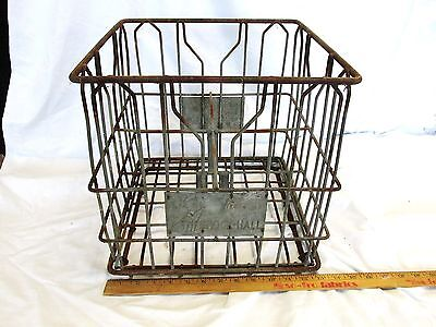Vintage Metal Milk Crate Bottle Tote Wire Brock-Hall 4 Divided Advertising #O