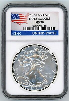 2015 American Silver Eagle NGC MS 70 - Early Releases USA Flag Map 1 oz - JT831