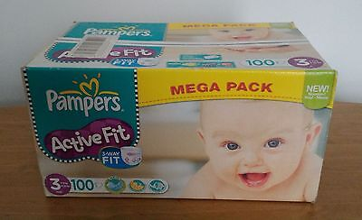 100 Couches Pampers Active Fit. Mega Pack. Taille 3 Midi. 4-9 Kgs