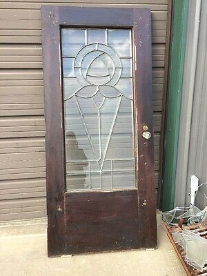 An 158 Antique Beveled Leaded Glass Entrance Door 35.5 X 79 3/4""