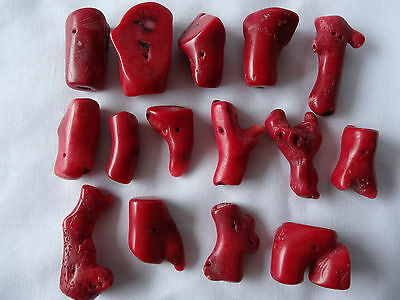 Fifteen Dyed Red Coral Irregular Shaped Branch Beads 16.25-33mm Long A378 DNG