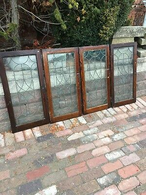"""Sg 1147 Set Of 4 Matching Antique Leaded Glass Cabinet Doors Swirly Design 18"""""""
